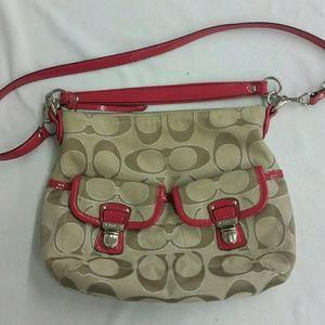 COACH purse.. khaki & pink fusia magenta